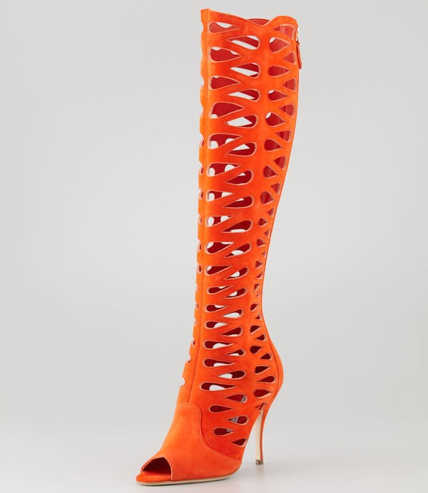 Brian Atwood Electra Suede Laser Cut Open Toe Boot