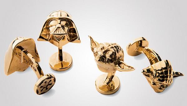 Gold Cufflinks Darth Vader and Yoda