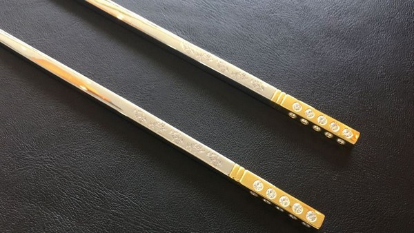 diamond-studded chopsticks