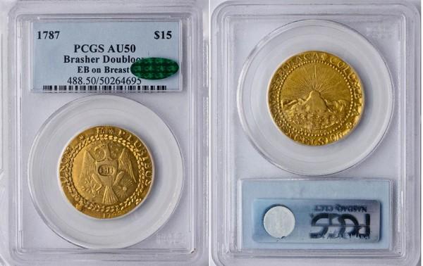 Первая золотая монета отчеканена в США, номиналом 15$, вставлена на продажу за 15.000.000$